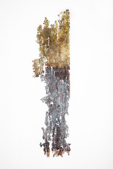 2013, asphalt and etching on brass, dimensions variable (detail; photograph: Yoav Goren)