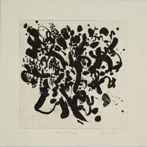 """ריקוד על נייר , 2007, אקווטינטת סוכר, 43x43 ס""""מ"""