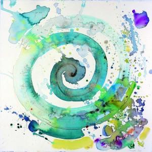 """מעגלים בחול,  2002, אקוורל 50x50 ס""""צ"""