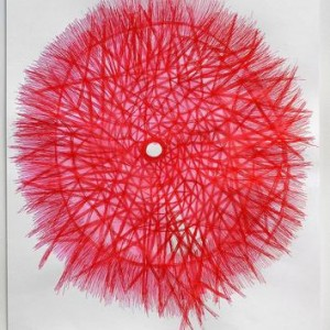 Etty Abergel, Red Lattice, 2007, ballpoint pen on paper 49X68