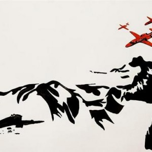 Tali Ben Bassat, Landscape with Airplanes, 2005, ink on paper 76x56