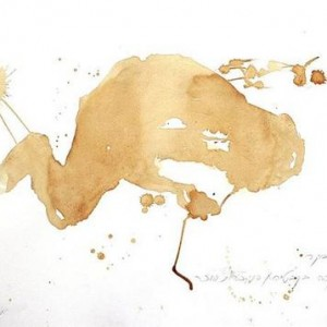 Yaacov Chefetz, Morning – Café in Kabbatya, 2005, coffee with sugar spilt on paper 50x70