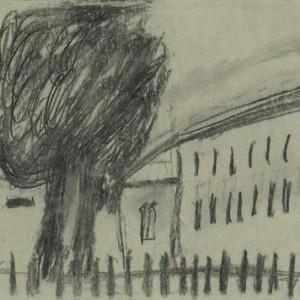 Carmella Kalai, Landscape, 2004, charcoal on paper 34x24