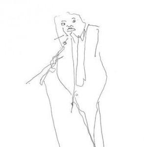 Eve Menes, Leonid Ptashka Speaks to the Audience, 2005, ballpoint pen on paper 29x21