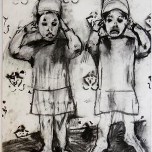 Anne Sassoon, Hear no Evil, 2007, ink and charcoal on paper 65X50