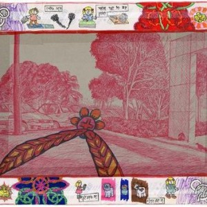 Shirly Schweitzer, Untitled ,2004, ball-point pen, marker and shiny adhesive tape on paper 42.2X57.2