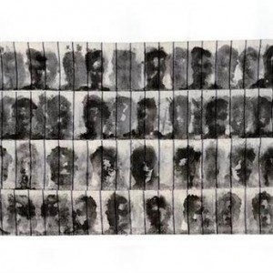 Chen Shapira, Unfolding, 2006, ink on flannel cloth for gun cleaning 40x60