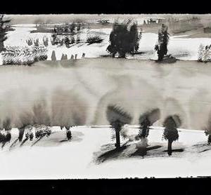 Shir Shvadron, Landscape, 2005, ink on paper 41.5 X80