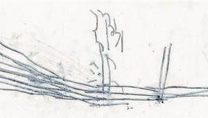 Yonatan Vinitsky, Untitled, 2007, engraved black plasticine on paper 14.5X42