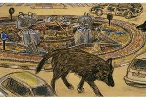 Lena Zaidel, Untitled -Wolves on the crossroad in front of Beit Elisheva- from the series All Places are Holy 3, 2007, dry pastel and charcoal on paper covered by gold paint 43x110