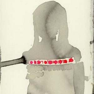"Dorit Ringart, from the series ""Red Ribbon"", 2004, ink on paper 30x21"
