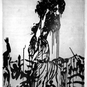 Jossef Krispel, Untitled (David and Goliath) ,2007, etching and sugar-lift 76X56