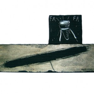 Yizhak Marecha, FA FA ,2006, engraving on wood, acrylic cement and oil paint 17X33