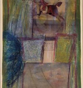 סוסים - ארוך אריה, 1965 , עיפרון וגיר פסטל שמנוני על שעתוקים