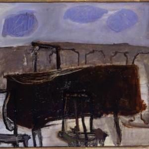 שולחן על המרפסת - ארוך אריה, 1955 , שמן על בד