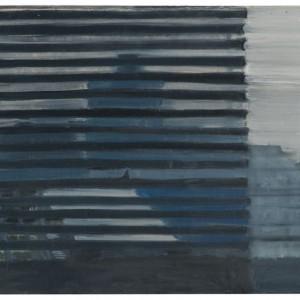 A grey view trough window , 2006 oil on wood 38x40
