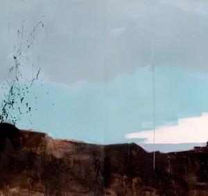 נוף (דיפטיך) - אליאב איה, 2009 , אקריליק, צבע תעשייתי על בד, 260x150