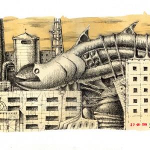 """מתוך הסדרה דג הילדות 2009, דיו ותה על נייר 30X40 סמ כ""""א"""