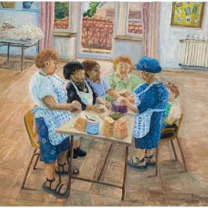 """עושות הסנדויצים בבית פרנפורטר מרכז יום לקשישים 2005,שמן על בד 90X100 ס""""מ"""