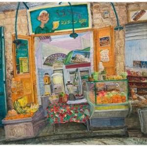 """דוכן שתיה של סחלבו בשוק מחנה יהודה, 2009 שמן על בד 85X90 ס""""מ"""