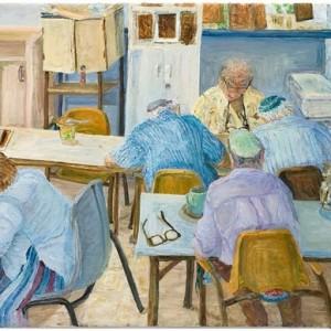 """בכיתת עבודת המתכת במרכז בית פרנפורטר עם המורה יצחק 2002, שמן על בד 90X70 ס""""מ"""