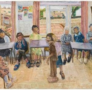 """שיעור בהתעמלות במועדון לאישה בבית פרנפורטר מרכז יום לקשישים, 2003 שמן על בד 85X150 ס""""מ"""