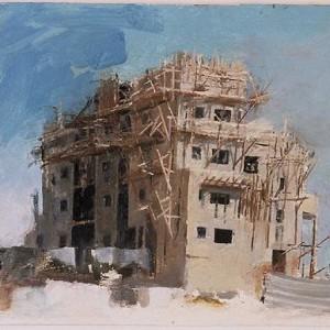 """אתר בניה 2 , 2001 שמן על עץ 20 X 25 ס""""מ."""