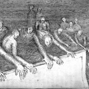 """נעמי טדסקי בלנקט, מחסום, 2009, תצריב על נייר 77X57 ס""""מ"""