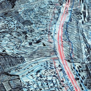 Nurit Gur-Lavy (Karni), Road 6 (detail), 2007, Felt-tip pen and oil pencil on Plexiglas 155x68 cm