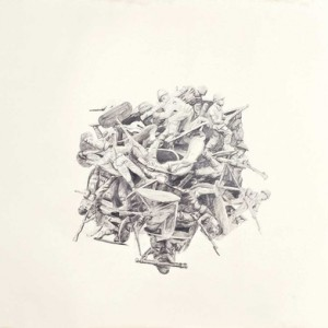 Yoav Weiss, Untitled (Pile II), 2010, Pencil on paper 100x130 cm
