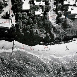 "Shimon Lev, Legal Entanglement: ""Sade vs Lev"", 2010, Ink on aerial photograph of Jaffa 29x45 cm"