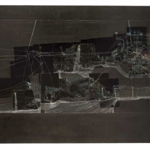 Yochi Negev, Montefiore South, 2009, Processed photo collage, acrylic and ink on cardboard 71x101 cm