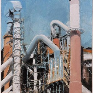 """המפעל החדש (מתוך הסדרה קתדרלות ועוגבים 2001–2002) , 2001-02 שמן על עץ 25 X 20 ס""""מ."""