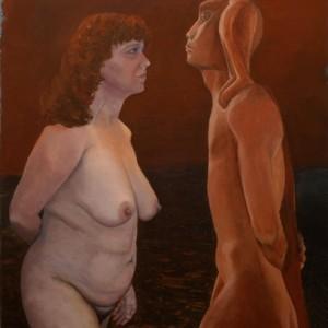 """נמרוד ואת - ראובן אורה,  2007 , שמן על בד, 80X100 ס""""מ"""
