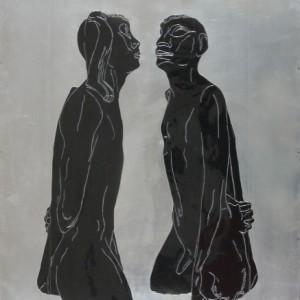 """נמרוד שחור - דומיני דרורה,  2003 , תבליט אלומיניום וצבע, 70X90 ס""""מ"""
