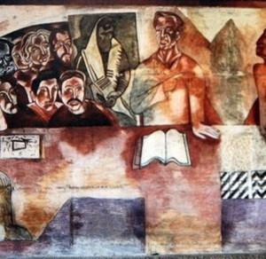 ישראל - החלום ושברו (השיעור באמנות) - אופק אברהם,  1986-1988 , ציור קיר, אוניברסיטת חיפה (פרט)