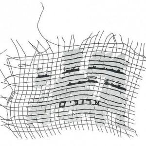 Lengths, 2004 mixed media on metal net 17x19 cm