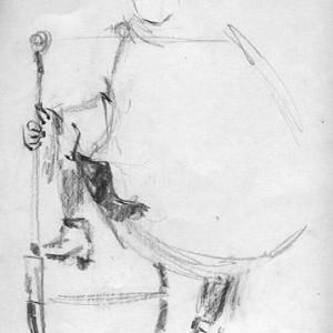 """איש עם מקל, 1996 עפרון 46x35 ס""""מ"""