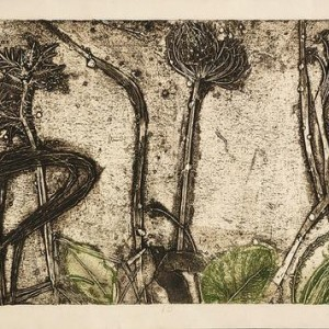 Gad Ulman, Dew, 1984, collograph 43x59.5 cm