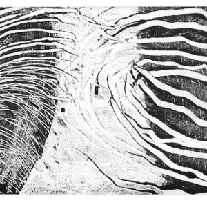 """רחל בן סירא, הלדרלין,2003 הדפס מונוטייפ על נייר, 15.5x23 ס""""מ"""