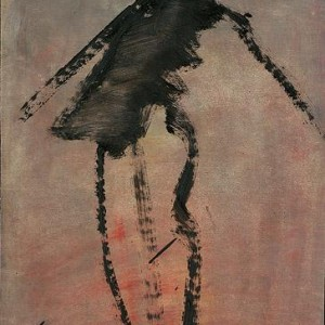 Woman, 2004 diluted black oil paint on paper 28x20 cm