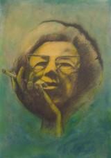 Shy Abady Smoke 2004 Mixed media on paper, on wood 49.5 X 34.5 cm.