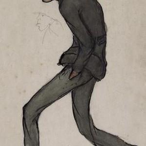 """בצלאלי מחפש עבודה - ששון חביב, עפרון דיו וגואש על נייר, 38.7 X 22 ס""""מ"""