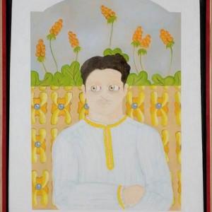 """דיוקנו של חביב ששון - בוקובזה אליהו אריק, 2006 , שמן על בד ומסגרת עץ, 73 X 93 ס""""מ"""