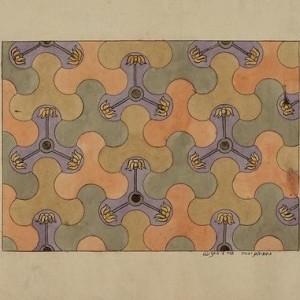 """מוטיבים צמחיים - נחמיאס יהודה,  דיו וצבעי מים על נייר, 28.3 X 35.5 ס""""מ"""