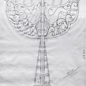 """מתווה לחנוכיה - סרי דויד, עפרון על נייר, 35 X 25 ס""""מ"""