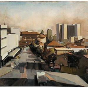 """""""Towards the City Center"""", 2001 Oil on canvas 80 X 100"""