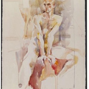 NUDE MALE , watercolor 56 x 76 cms