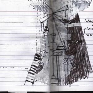 מתוך פנקס רישומי הכנה למיצב נדודים / ירושלים - אברג'ל אתי, 2008 עיפרון, עט שחורה וטיפקס על נייר, 20x15