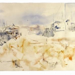 שטח פתוח - הגבעה הצרפתית,  מנס איב, 2005, צבעי מיים על נייר, 102x65
